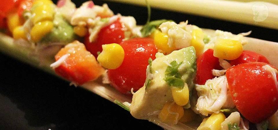 tomato, corn, avocado and crab salad